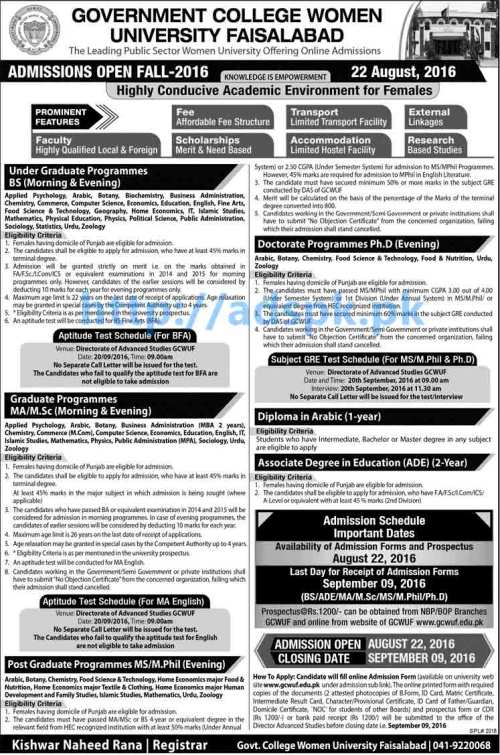 New Admissions 2016 Open Fall Government College Women University Faisalabad for BS ADE M.A M.Sc MS M.Phil PhD Application Deadline 09-09-2016 Apply Now