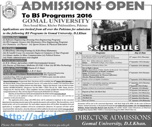 New Admissions 2016 Open Gomal University Dera Ismail Khan KPK Pakistan for BS Programs Complete Admission Schedule Application Deadline 25-08-2016 Apply Now