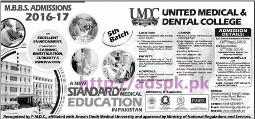 New Admissions Open 2016-17 United Medical & Dental College Karachi for MBBS Application Deadline 30-09-2016 Apply Now