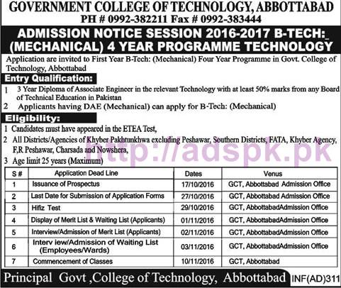 New Admissions Open 2016-2017 for B.Tech (Mechanical) 04 Years Technology Degree Program in Govt. College of Technology Abbottabad Application Form Deadline 27-10-2016 Apply Now