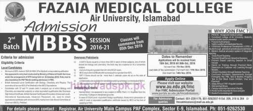 New Admissions Open 2016-21 Fazaia Medical College Air University Islamabad for MBBS 2nd Batch Application Form Deadline 30-10-2016 Apply Online Now
