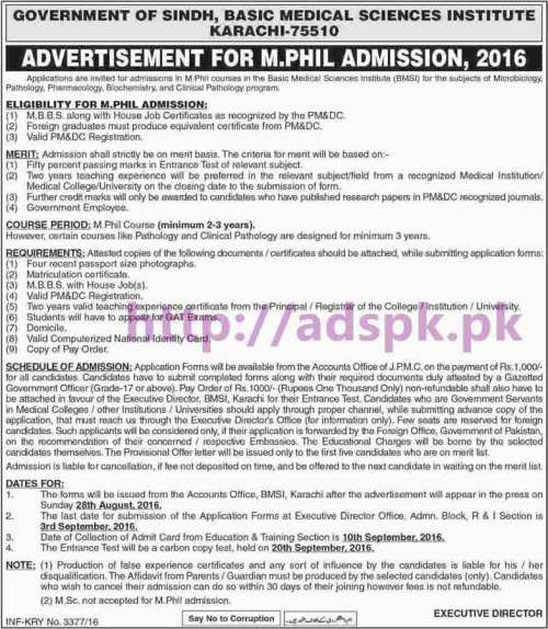 New Admissions Open 2016 Basic Medical Sciences Institute Karachi Govt. of Sindh for M.Phil (Microbiology Pathology Pharmacology Biochemistry Clinical Pathology Programs) Application Deadline 03-09-2016 Apply Now