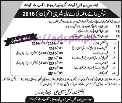 New Admissions Open 2016 FGEI (Cantt-Garrison) Regional Office Wah Cantt Admission Schedule for B.A B.Sc (3rd Year) Application Deadline 01-09-2016 Apply Now