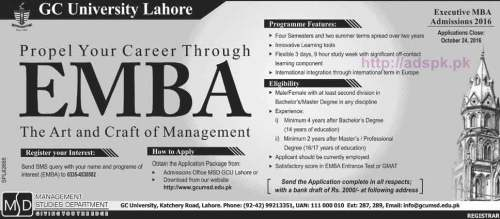 New Admissions Open 2016 GC University Lahore for Executive MBA (EMBA) Degree Program Application Deadline 24-10-2016 Apply Now