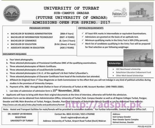New Admissions Open Spring 2017 University of Turbat Sub Campus Gwadar for BBA BSIT B.Com B.Ed (Hons) ADE Application From Deadline 15-09-2016 Apply Now