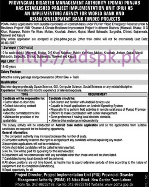 New Career Surveyor 150 Excellent Jobs in PDMA Provincial Disaster Management Authority Punjab Govt. Jobs Application Deadline 02-03-2017 Apply Now