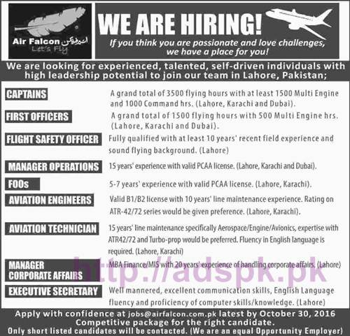 New Career Excellent Jobs Air Falcon Lahore Jobs for Captains First Officers Flight Safety Officer Aviation Engineers Technician Executive Secretary Application Deadline 30-10-2016 Apply Online Now