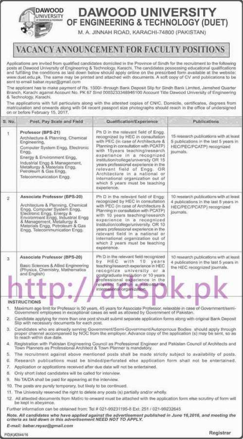 New Career Excellent Jobs Dawood University of Engineering & Technology DUET Karachi Jobs for Professors Application Form Deadline 15-02-2017 Apply Now