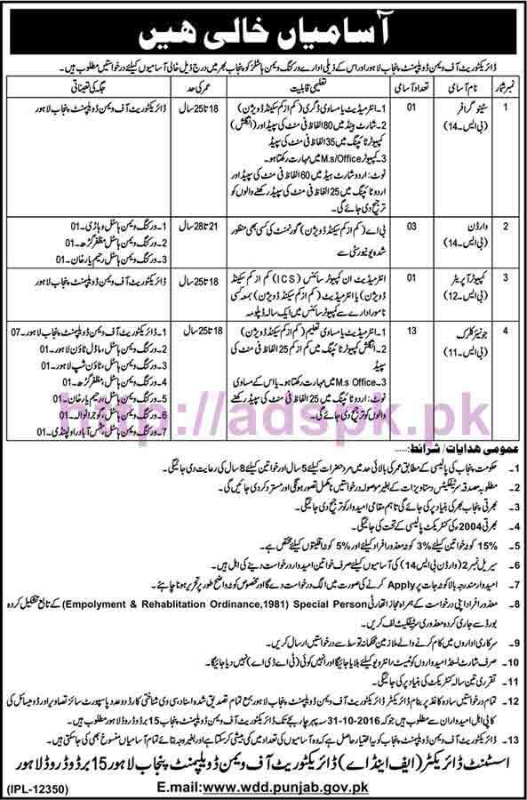 New Career Excellent Jobs Directorate of Women Development