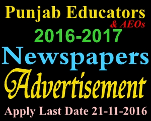 New Career Excellent Jobs Educators AEOs District Tehsil Wise Punjab All Newspapers Advertisement 2016-2017
