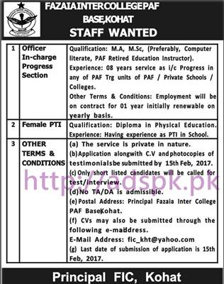 New Career Excellent Jobs Fazaia Inter College PAF Base Kohat KPK Jobs for Officer In-Charge Progress Section PTI (Female) Application Deadline 15-02-2017 Apply Now