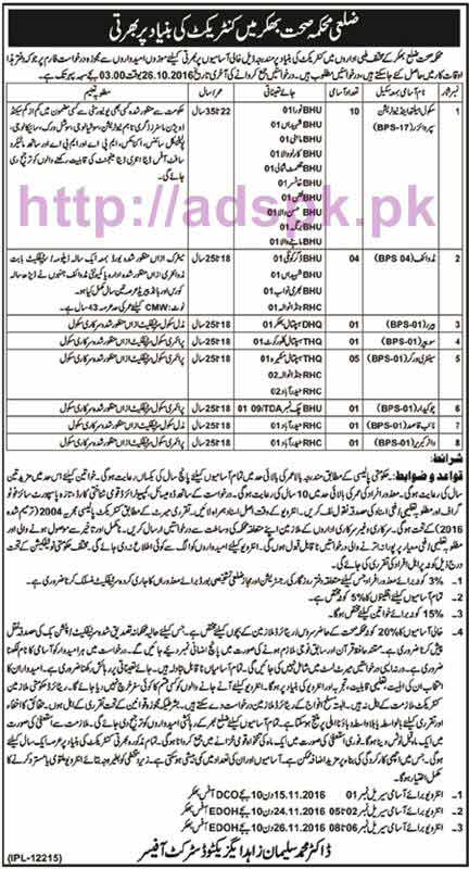 New Career Excellent Jobs Health Department District Bhakkar Jobs for School Health & Nutrition Supervisor Midwife and Other Staff Application Deadline 26-10-2016 Apply Now