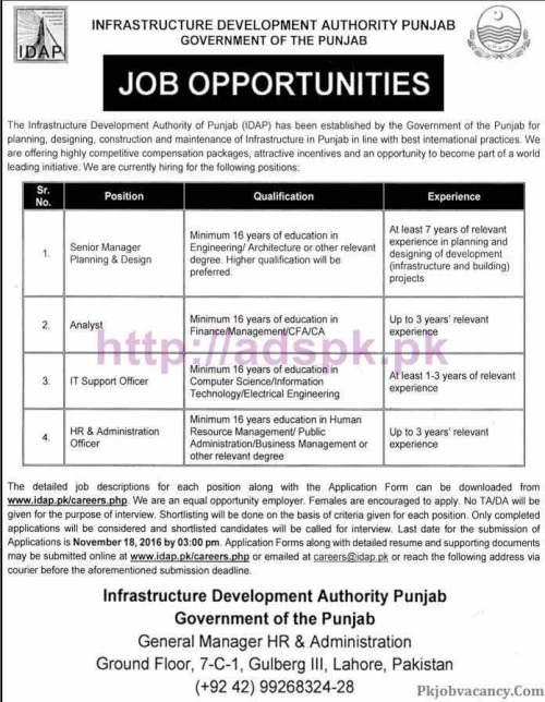 New Career Excellent Jobs Infrastructure Development Authority Punjab Govt. IDAP Lahore Jobs for Senior Manager Planning & Design Analyst I.T Support Officer HR Admin Officer Application Form Deadline 18-11-2016 Apply Now
