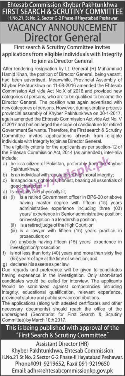 New Career Excellent Jobs KPK Ehtesab Commission First Search & Scrutiny Committee Peshawar Jobs for Director General Application Deadline 10-03-2017 Apply Now