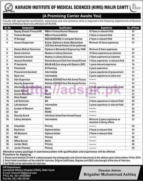 New Career Excellent Jobs Karachi Institute of Medical Sciences (KIMS) Malir Cantt CMH Jobs for Deputy Director Finance HR Managers Finance I.T Account Supervisor and Other Staff Application Deadline 15-11-2016 Apply Now