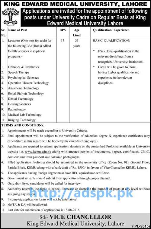 New Career Excellent Jobs King Edward Medical University Lahore Regular Basis Jobs for Lecturers with Various Disciplines Applications Deadline 18-08-2016 Apply Now