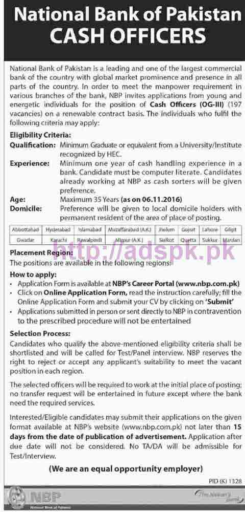 New Career Excellent Jobs NBP National Bank of Pakistan Jobs for Cash Officers (OG-III) Application Form Deadline 06-11-2016 Apply Online Now