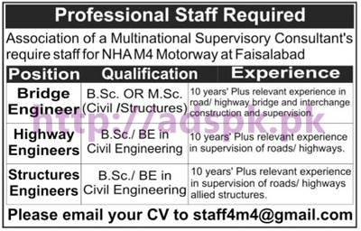 New Career Excellent Jobs NHA M4 Motorway Faisalabad Jobs for B.Sc Engineers Civil Structures Apply Online Now