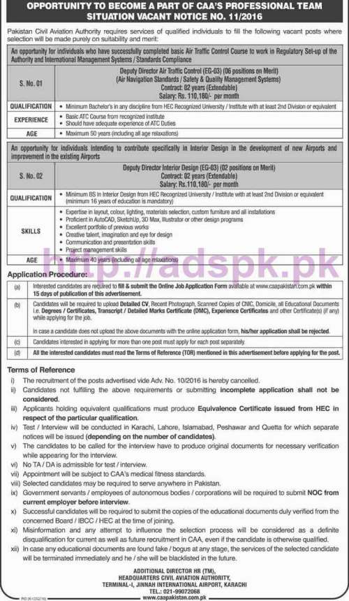 New Career Excellent Jobs Pakistan Civil Aviation Authority Ad No. 11-2016 Jobs for Deputy Director Air Traffic Control Deputy Director Interior Design Application Form Deadline 31-10-2016 Apply Online Now