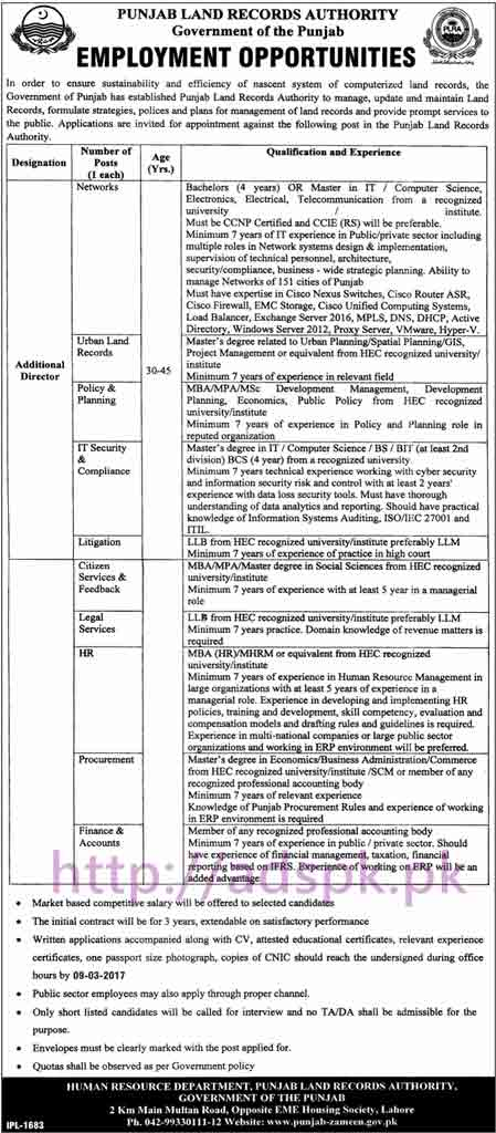New Career Excellent Jobs Punjab Land Records Authority Punjab Govt. Lahore Jobs for Additional Director (with Various Disciplines) Application Deadline 09-03-2017 Apply Now