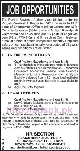 New Career Excellent Jobs Punjab Revenue Authority Jobs for Enforcement Officer and Legal Officer Application Deadline 17-11-2016 Apply Now
