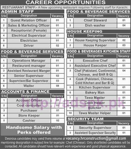 New Career Excellent Jobs Upcoming Restaurant Karachi Required Various Staff Apply Online Now