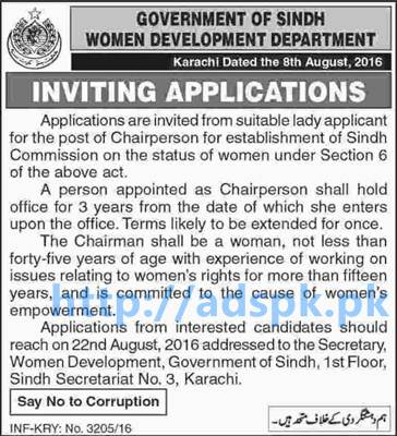 New Career Excellent Jobs Women Development Department Sindh Govt. Karachi Jobs for Chairperson (Female) Application Deadline 22-08-2016 Apply Now