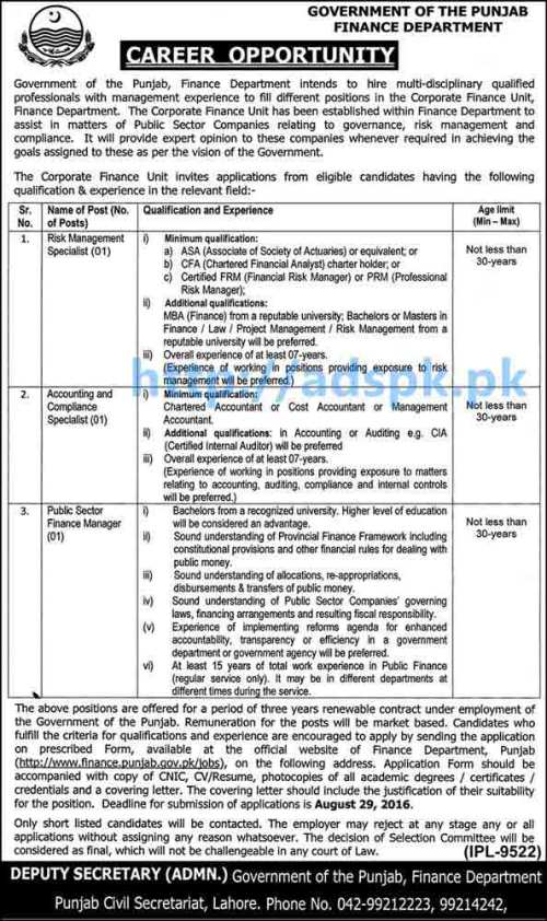 New Career Good Jobs Govt. of Punjab Finance Department Lahore Jobs for Risk Management Specialist Accounting Compliance Specialist Public Sector Finance Manager Last Date 29-08-2016 Apply Now