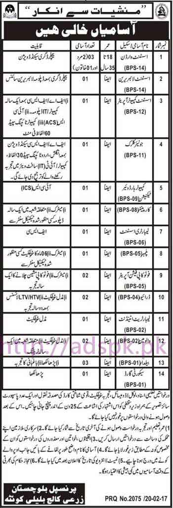 New Career Jobs Agriculture College Bulali Quetta Balochistan Jobs for BPS-01 to BPS-14 Assistant Warden Assistant Librarian Assistant Computer Operator Junior Clerk Hardware Technician Application Deadline 18-03-2017 Apply Now