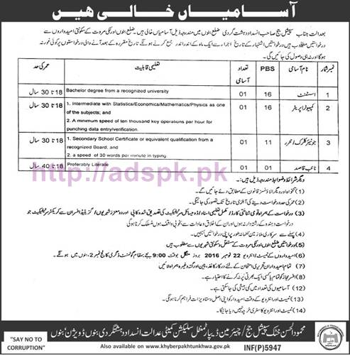 New Career Jobs Anti Terrorism Court Bannu Division Bannu KPK Jobs for Assistant Computer Operator Junior Clerk Naib Qasid Interview Dated 22-11-2016 Apply Now