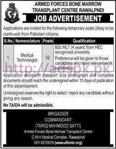 New Career Jobs Armed Forces Bone Marrow Transplant Centre Rawalpindi Jobs for Medical Technologist Application Deadline 06-03-2017 Apply Now