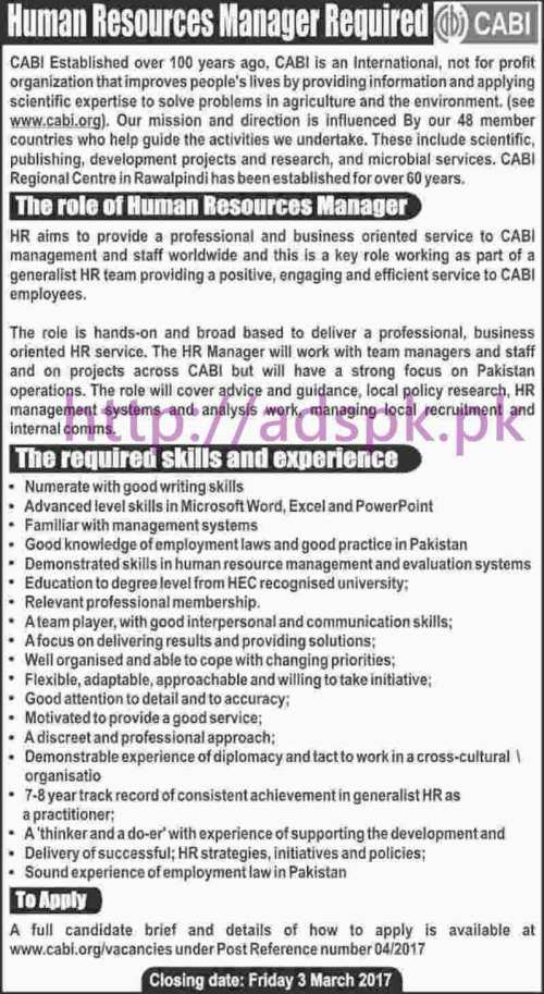 New Career Jobs CABI Organization Jobs for HR Manager Application Deadline 03-03-2017 Apply Now