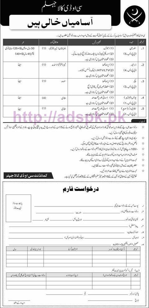 New Career Jobs COD Kala Jhelum Jobs for BPS-01 to BPS-05 Store Man Driver and Other Staff Application Deadline 16-10-2016 Apply Now