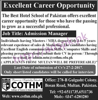 New Career Jobs COTHM College of Tourism & Hotel Management Multan Jobs for Admission Manager Application Deadline 27-02-2017 Apply Now