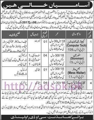New Career Jobs Central Ordnance Depot COD Rawalpindi Jobs for Computer Technician Store Man Mess Waiter Application Deadline 06-03-2017 Apply Now