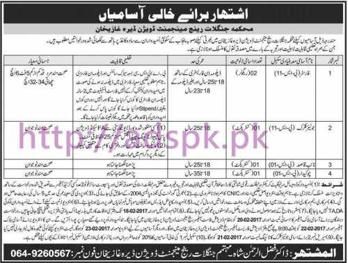New Career Jobs Forest Department Dera Ghazi Khan Range Management Division Jobs for Forester Junior Clerk Naib Qasid Application Deadline 18-02-2017 Apply Now