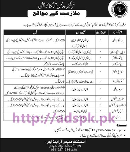 New Career Jobs Frontier Works Organization FWO Rawalpindi Jobs for Project Manager Deputy Project Manager Planning Engineer AUTOCAD Operator and Other Staff Application Deadline 12-09-2016 Apply Online Now
