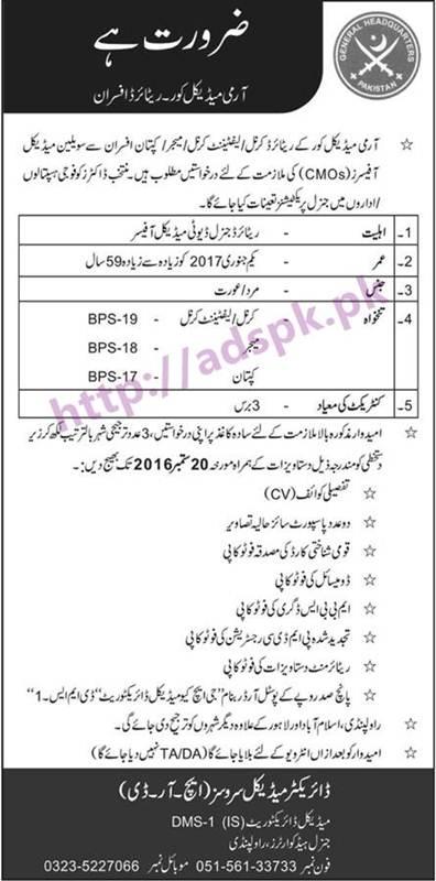 New Career Jobs GHQ Pakistan Army Medical Crop Rawalpindi
