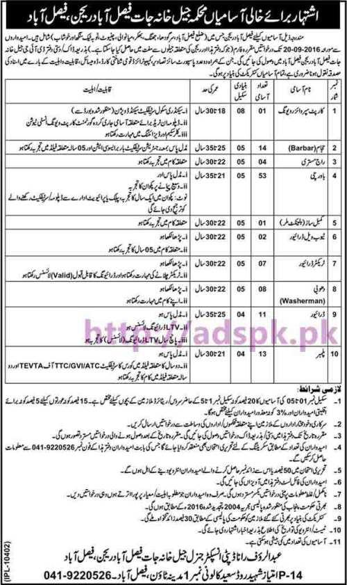New Career Jobs Jail Department Faisalabad Region Faisalabad Jobs for BPS-04 to BPS-08 Jobs Carpet Supervisor Viewing Barbar Cook Driver Plumber Application Deadline 20-09-2016 Apply Now