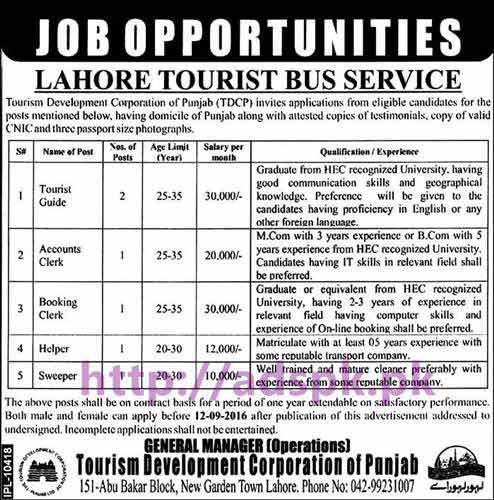 New Career Jobs Lahore Tourist Bus Service (TDCP) Lahore Jobs for Tourist Guide Accounts Clerk Booking Clerk Helper Sweeper Application Deadline 12-09-2016 Apply Now