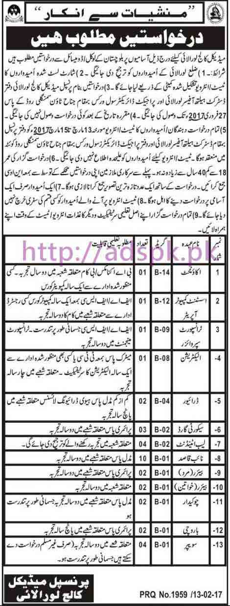 New Career Jobs Medical College Loralai Jobs for Accountant Assistant Computer Operator Transport Supervisor and Other Staff Application Deadline 27-02-2017 Apply Now