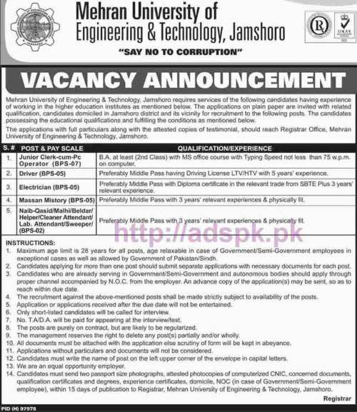 New Career Jobs Mehran University of Engineering & Technology Jamshoro Jobs for Junior Clerk cum Computer Operator Driver Electrician Application Deadline 06-11-2016 Apply Now