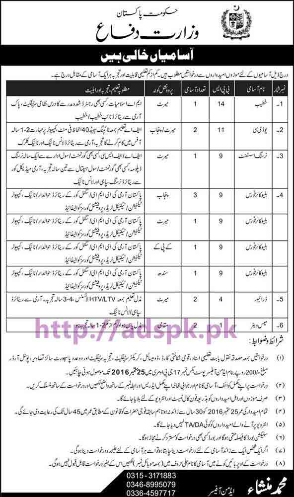 New Career Jobs Ministry of Defence P.O Box 17 GPO Murree