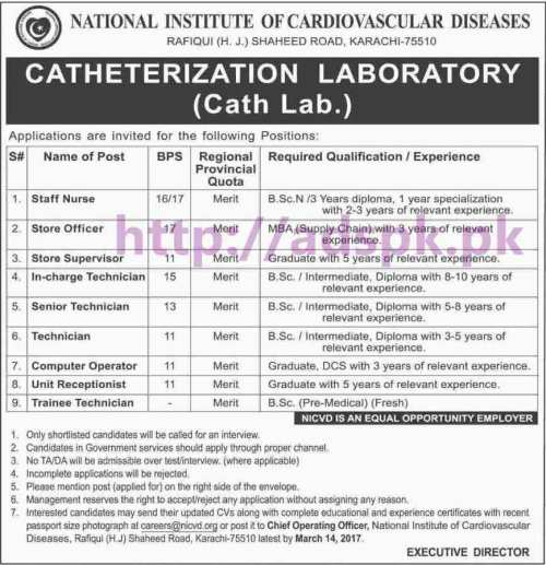 New Career Jobs National Institute of Cardiovascular Diseases (Catheterization Laboratory) Karachi Jobs for Staff Nurse Store Officer Technicians Computer Operator Trainee Technician Application Deadline 14-03-2017