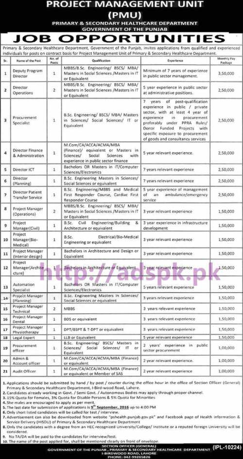 New Career Jobs PMU Primary & Secondary Healthcare Department Punjab Govt. Lahore Jobs for Deputy Program Director Operations Director Finance Director & Admin and Project Managers Application Deadline 09-09-2016 Apply Now