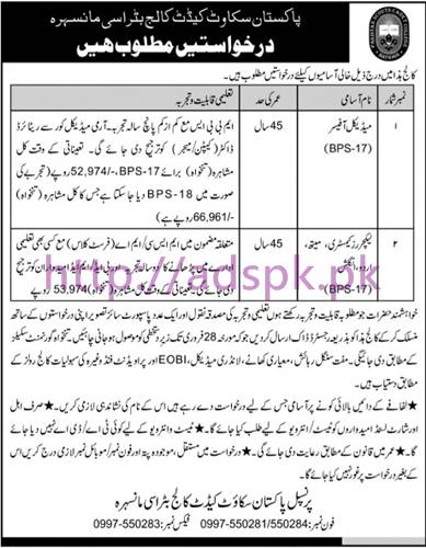 New Career Jobs Pakistan Scouts Cadet College Batrasi KPK Jobs for Medical Officer and Lecturers (Chemistry Math Urdu English) Application Deadline 28-02-2017 Apply Now