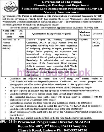 New Career Jobs Planning & Development Department (SLMP-II) Punjab Govt. Jobs for Accounts Finance Assistant Application Deadline 09-11-2016 Apply Now