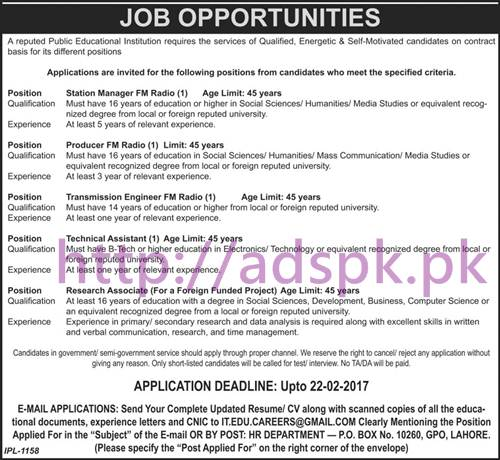 New Career Jobs Public Sector Educational Institution P.O Box 10260 GPO Lahore Jobs for Station Manager FM Radio Producer Transmission Engineer Technical Assistant Application Deadline 22-02-2017 Apply Now