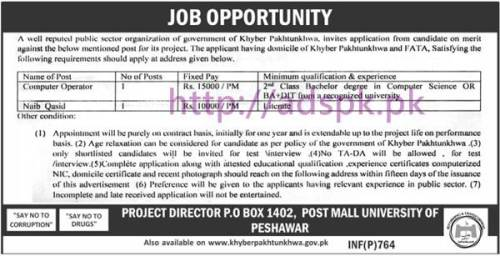 New Career Jobs Public Sector Organization P.O box 1402 Peshawar KPK Jobs for Computer Operator and Naib Qasid Application Deadline 04-03-2017 Apply Now