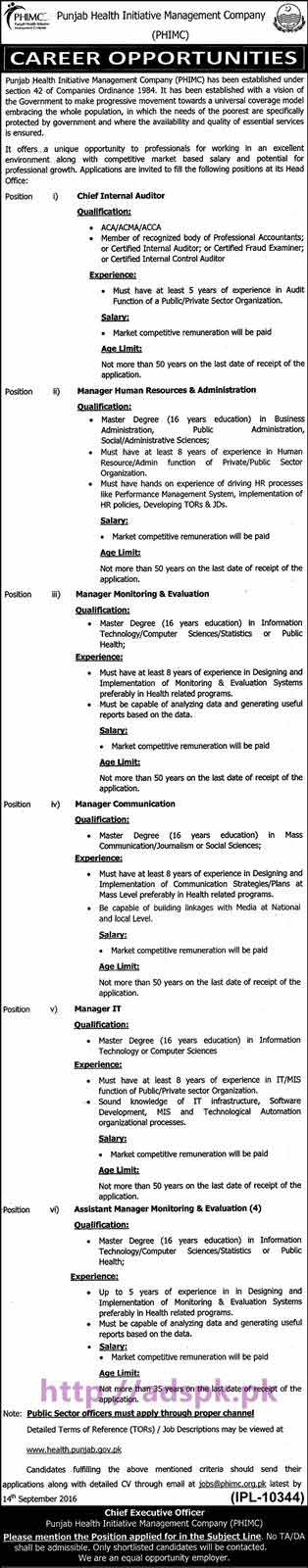 New Career Jobs Punjab Health Initiative Management Company Lahore Jobs Chief Internal Auditor Managers HR & Admin Communication M&E I.T Application Deadline 14-09-2016 Apply Now